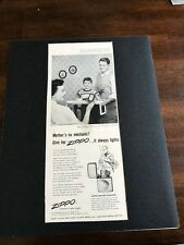 "1954 VINTAGE 13X5"" AD MOTHER'S NO MECHANIC GET A ZIPPO LIGHTER&BREAKFAST IN BED"