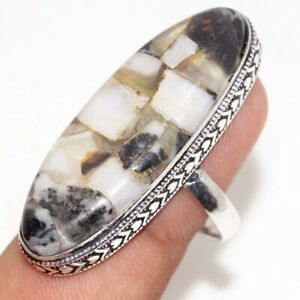 Copper White Buffalo Turquoise 925 Silver Plated Ring us 8.5 Ethnic Jewelry GW