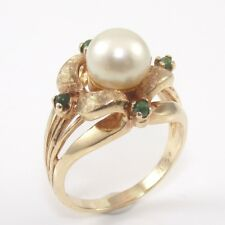 Vintage Estate Solid 10K Yellow Gold 8mm Pearl Ring Size 8