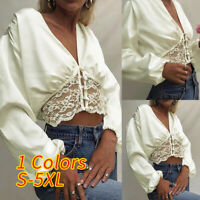 Womens Silky Satin Lace Hem Blouse Shirt Ladies Sexy Plunge Party Tops Plus Size