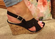 LADIES SHOES GLITTER WEDGES PLATFORM HEEL SANDALS PINK BOUTIQUE STRAPPY Sz 7 40