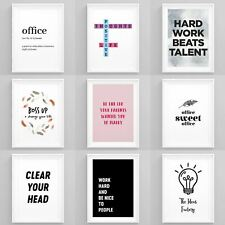 Inspirational Framed Prints Office Wall Art Motivational Pictures Hustle Posters