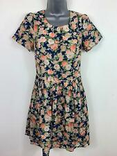 WOMENS OASIS SMART/CASUAL BLUE FLORAL SHORT SLEEVED PLEATED A LINE DRESS SIZE 8