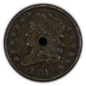 1834 1/2c Classic Head Half Cent - Mid-Grade Detail - SKU-Y2258