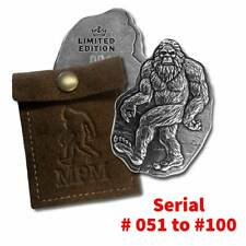 Bigfoot Sasquatch 3 oz. 999 Fine Silver Bar with Leather Pouch-5 Consecutive #'s