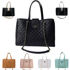 15.6 in Laptop Tote Handbag Satchel Quilted Bag Womens CC Macbook Notebook Ipad
