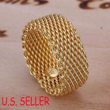 Designer Inspired 18K Yellow Gold Filled 10mm wide Flexible Mesh Band Ring B241