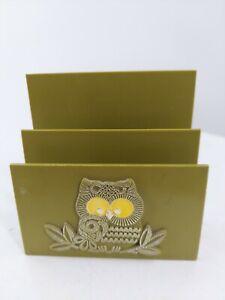 Vintage Plastic avocado Green Letter Mail Bill Sorter 2 Slot Holder owl