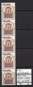 BRD 1993 Sehenswürdigkeiten (XIV) MiNr. 1679 R I 5er-Streifen mit Zählnummer