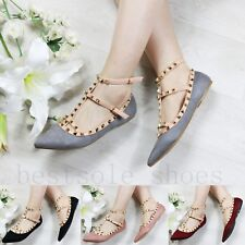 91a31e614d4 Ladies Womens Flat Stud Strap Loafers Buckle Brogue Point Toe Pumps Comfy  Shoes