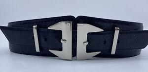 CUE Statement Leather Belt Black Size Medium Adjustable On Trend!