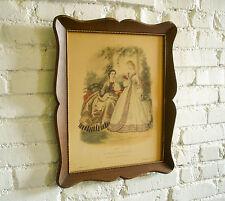 Vintage French Fashion Plate HUGE Old La Mode Illustree 1862 No 223 Print Framed
