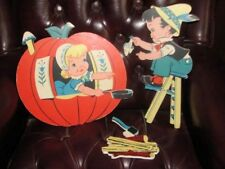 """Vtg 1965 """"Peter Peter Pumpkin Eater"""" Wall Hanging 3 Pc Set Dolly Toy Co Nursery"""