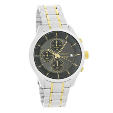 Seiko Mens Charcoal Date Dial Two Tone Quartz Chronograph Watch SKS543