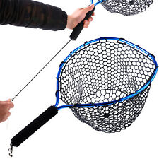Landing Fly Fishing Net with Elastic Release Cord Mesh Trout Bass Fishing Catch