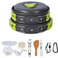 Camping Cookware 12 Pc Set Mess Kit Backpacking Gear Hiking Outdoors Cooking New