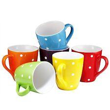 Coffee Cups Mugs Set of 6 Large-sized 16 Ounce Ceramic Coffee (Polka Dot)