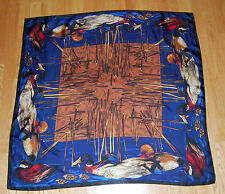 Rare VTG Perry Ellis Silk Square Scarf Ducks Birds Ducklings Marsh Cattails