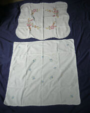 2 Linen & Lace Embroidery Table Cloth Vintage 50s Flower Decoration Fabric Doily