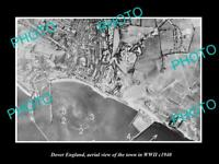 OLD LARGE HISTORIC PHOTO DOVER ENGLAND AERIAL VIEW OF THE TOWN IN WWII c1940