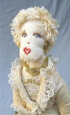 Vintage Hand Made Lady Cloth Doll with Lace & Embroidery