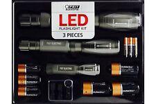 Feit LED Flashlight Kit - 3-pack with Case - 1000, 500, 250 Lumens - Titanium