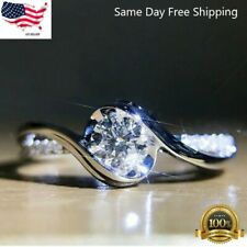 Women Fashion 925 Silver Rings White Sapphire Wedding Ring Gift Size 6-10