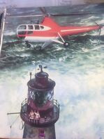 L2-8 Ephemera 1950s Book Plate Helicopter Lighthouse Rescue