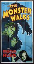 THE MONSTER WALKS MISCHA AUER HAUNTED HOUSE HORROR R-1938 3-SHEET