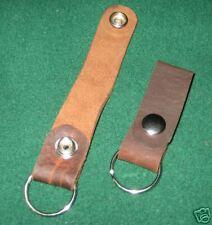 Brown Leather Key Loop snap key chain NEW