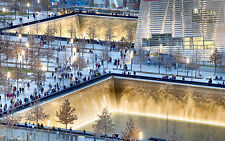 World Trade Center memorial site Lit up at dusk 12 x 19 Giclee Print
