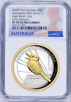 2020 Australia GILT HIGH RELIEF 2oz Silver Kookaburra 30 Ann $2 Coin NGC PF70 ER