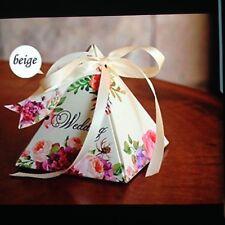 Wedding favour boxes, cream / flowers, 50 boxes