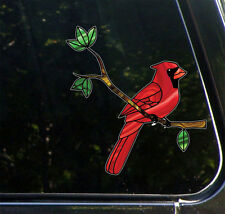 "CLR:CAR Cardinal Bird on Branch - Stained Glass Vinyl Car Decal ©YYDC-5.8""w x6""h"