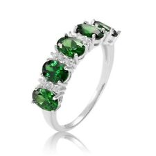 2.5Ct Oval Cut Green Emerald Diamond Vintage Engagement Ring 14K White Gold Over