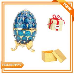 Enameled Easter Egg Jewelry Organizer Trinket Box Decoration Craft Wedding Decor