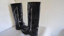 Taccetti Black Ruber Rain Boots Patent Leather Sheepskin Lined Shaft Sz41 Us10.5