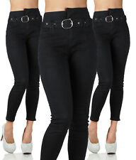 Sexy Stretchy Black / Blue Trousers High Waisted Skinny Slim Incl Belt  N 756