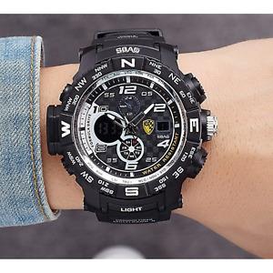 Montre Homme Sport digital LED - À Quartz Bracelet Noir Étanche Résistante Neuf