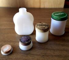 ANTIQUE ADVERTISING TIN LID MILK GLASS OINTMENT BOTTLES. ANCHOR HOCKING LOT