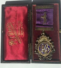 Antique 1911 Cardigan Lodge Sterling Silver Award Ribbon Masonic Medal In Box