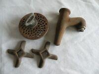 OLD PLUMBING PARTS- Cast Iron Faucet, Knobs, Drain ANTIQUE PAT'D 1886