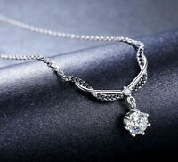 Damen Halskette echt Silber 925 Anhänger 40 mm Zirkon Edlen Schmuck Geschenk Neu