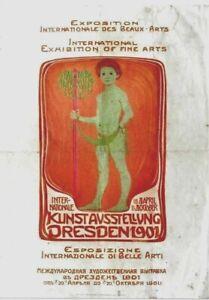 Original vintage poster LIBERTY ART EXPO DRESDEN 1901 Boy