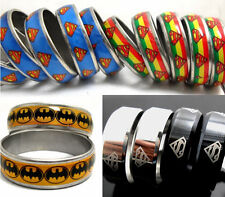 50 Mix Superman batman Stainless Steel Rings Wholesale men women Jewelry Lots