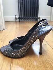 GINA grey satin crystal peep toe bridal party heels Uk 4.5