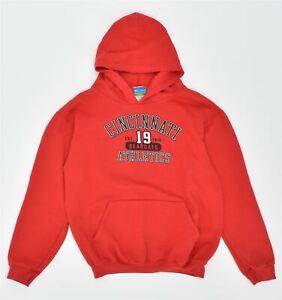 CHAMPION Boys Cincinnati Hoodie Jumper 14-15 Years XL Red Cotton CC05
