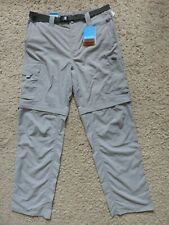 Mens Columbia Silver Ridge Convertible Trouser Pants Shorts Grey NEW 34W 32L LRG
