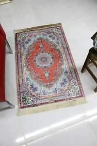 Traditional Oriental Design Silky Look Carpet 28''x43'' Area Rug in Vivid Colors