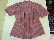 Women's JACQUI E Size 10 AU Sheer Shirt Crimson Striped Near New Short Sleeve